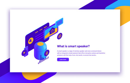 Vector isometric illustration of smart speaker or digital voice assistant for control websites, mobile applications and home automation, infographic with description text