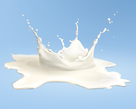 Vector illustration of realistic pouring milk or cream splash isolated on blue background Ilustrace