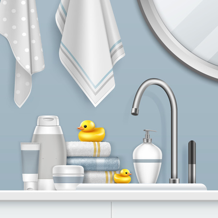 Vector illustration of towels and bathing set on shelf with yellow duck in bathroom interior
