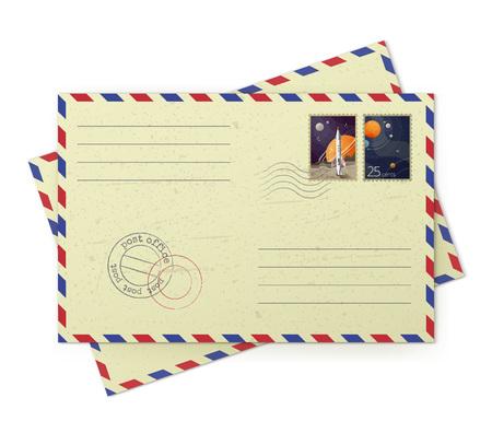 Illustratore vettoriale di buste di posta aerea vintage con francobolli postali isolati su sfondo bianco