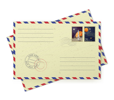 Vector illustrator of vintage airmail envelopes with postal stamps isolated on white background