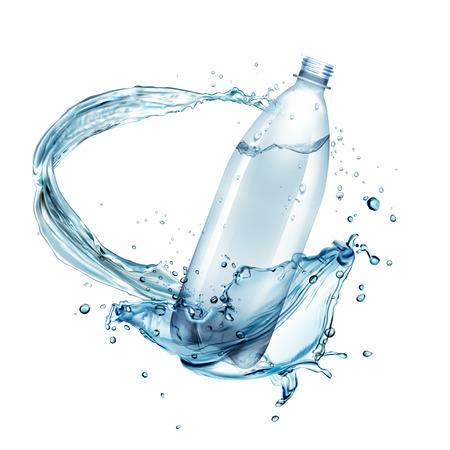 Illustration vectorielle d'éclaboussures d'eau autour d'une bouteille en plastique isolée sur fond blanc Vecteurs