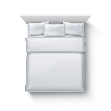 Vector illustration of double bed with soft duvet, bedding and pillows on white background, top view Ilustrace