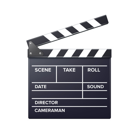 Vector realistic movie clapper slapstick front view close up isolated on white background Ilustrace