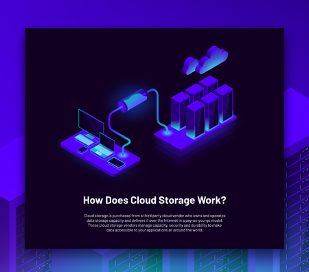 Vector isometric illustration of laptop, computer, tablet and smartphone connected to cloud storage server. Site landing page or infographic banner with text on blue background