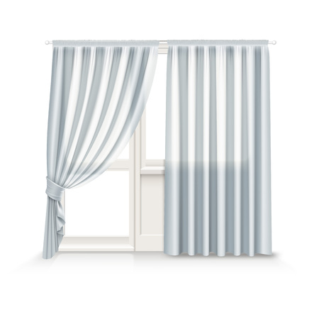 Vector illustration of gray curtains hang on window and balcony door on background