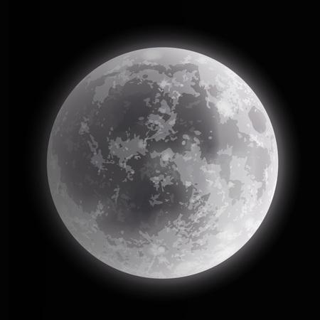 Vector illustration close up of full moon on night background Ilustrace