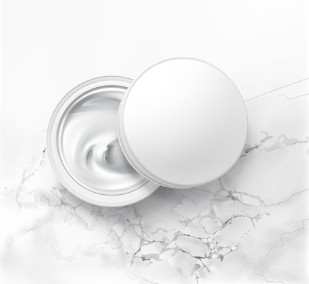 Vector illustration of cosmetic jar with hygienic cream, top view on white marble background