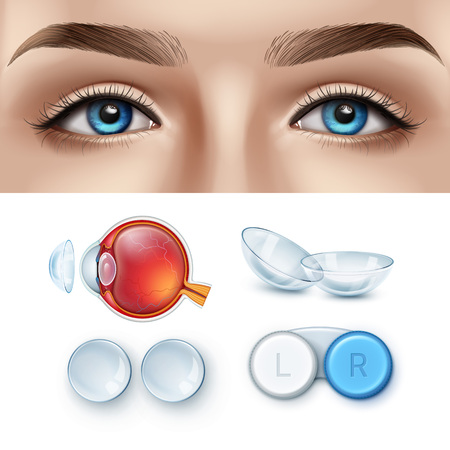 Vector illustration of female face with blue eyes and realistic set of contact lens with box and human eye anatomy. Ophthalmology concept
