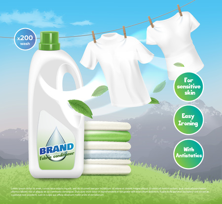 Vector illustration of advertising loundry detergent, bright white clothes, dried and folded. Product packaging design