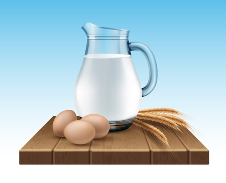 Vector illustration of glass jug of milk with wheat ears and eggs on wooden stand on gradient blue background