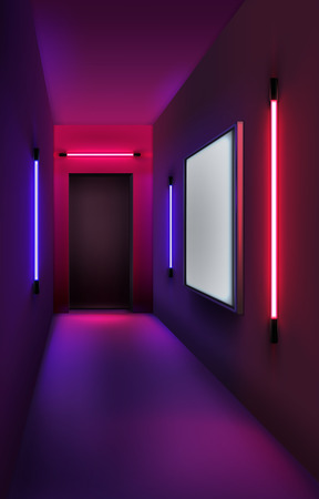 Vector illustration of colored neon tubes and lightbox in interior Ilustrace