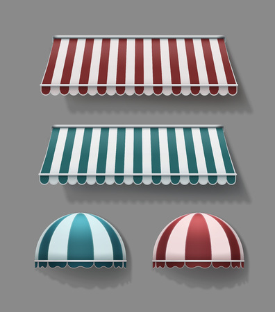 Vector set of striped retractable horizontal and rounded awnings in red and turquoise with white colors on gray background