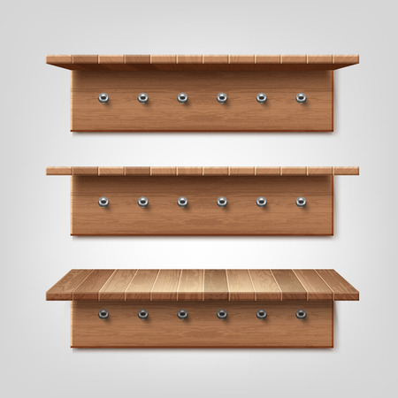 Vector realistic set of wooden shelf with clothes hanger hooks isolated on white wall background Ilustrace