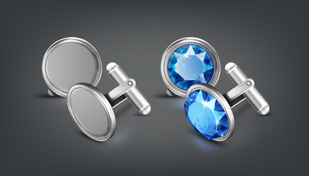Vector realistic illustration of two pair silver or chrome cufflinks with blue gem isolated on dark background Ilustrace
