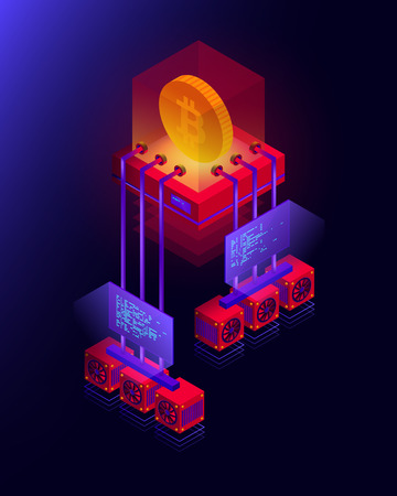 Vector illustration of cryptocurrency mining farm, big data processing for bitcoin, blockchain isometric concept in violet and red colors