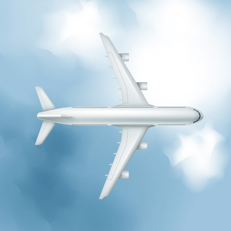 Vector realistic airplane on cloudy sky background, view from above.