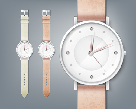 Vector woman's watch with gem, isolated close up on background Vettoriali