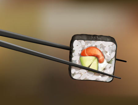 Vector chopsticks holding sushi roll with salmon, avocado and soft cheese on blur background Vettoriali