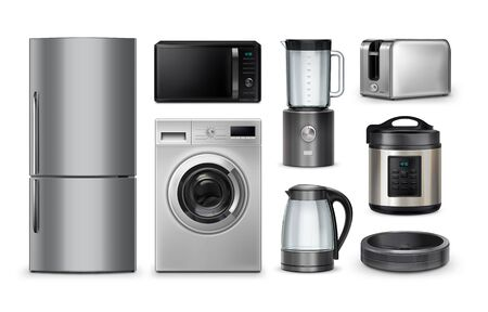 Vector realistic set of gray household and kitchen appliances isolated on white background. Microwave, refrigerator, washing-machine, toaster, multi-cooker, kettle, blender, robot vacuum cleaner. E-commerce online internet store and delivering of appliances concept