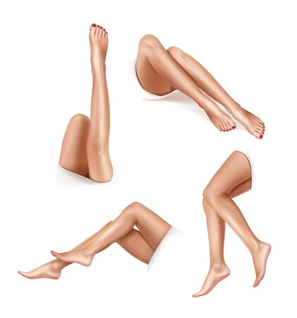 Beautiful womens legs in various positions. Depilation concept. Vector realistic illustration isolated on white Vettoriali