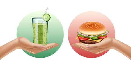 Two hands holding smoothie glass and hamburger. Choise. Opposition. Healthy lifestyle concept. Realistic illustration