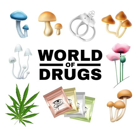 Word of drugs vector illustration isolated on white. Mushrooms, poppy, cannabis, spice, wristbands Vettoriali