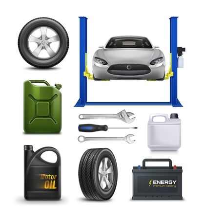Vector realistic set for Car Service isolated on white. Car maintenance advertisement concept. Vettoriali