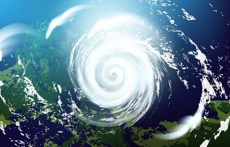 View of a huge hurricane from the space. Vector realistic illustration. Vettoriali