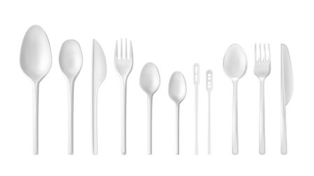 Set of vector realistic white and transparent desposable tableware: spoons, knifes, forks, teaspoons isolated on white background