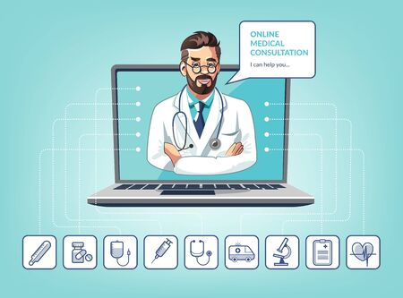 Vector illustration of medical online consultation with doctor using laptop. App concept with icons Vettoriali