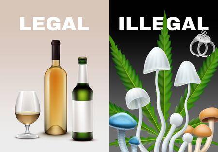 Legal and illegal drugs vector illustration. Alcohol mushrooms, marijuana