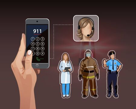 Vector illustration of calling 911. Doctor, firefighter, policeman. Emergency concept