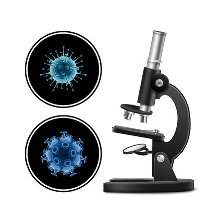 Microscope with bacteria vector illustration isolated on white background. Virus concept. Microscope virus close up.