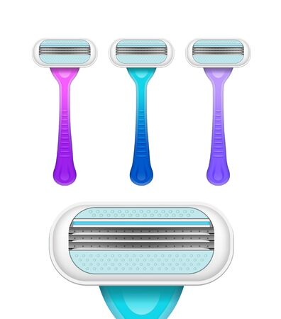 Hair removal instruments. Set of razors in different colors. Vector realistic illustration isolated on white