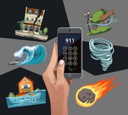 Emergency cataclysms set with phone. Windstorm, hurricane, earthquake, waterflood, meteorite Vettoriali