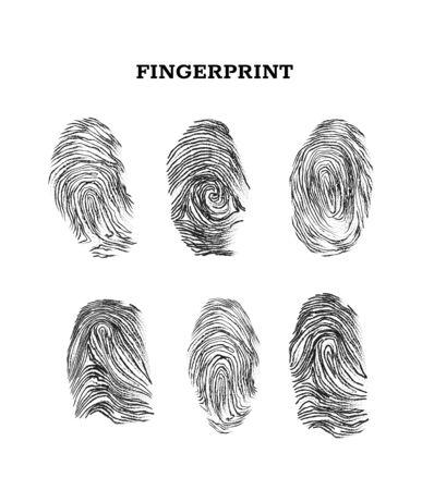 Set of vector black ink fingerprints isolated on white Vettoriali