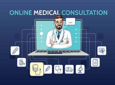 Vector illustration of medical online consultation with doctor using laptop