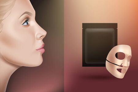 Sheet face mask advertisement concept. Cotton or gel face mask with package, girls face side view. Vector realistic