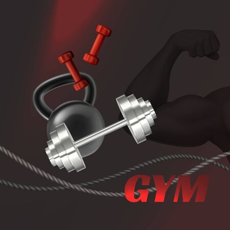 Gym advertisement poster with weight equipment. Vector realistic illustration