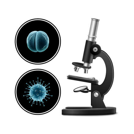 Microscope with bacteria vector illustration isolated on white background. Microscope virus close up. Clinical research. Vettoriali