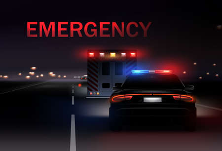 Night city with police and ambulance cars with sirens on the road. Vector realistic illustration