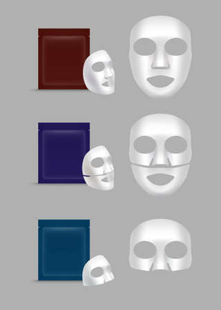 Vector realistic cotton or gel sheet face masks with packs isolated