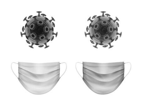 Vector monochrome set of coronavirus bacteria with medical face masks isolated on white background.