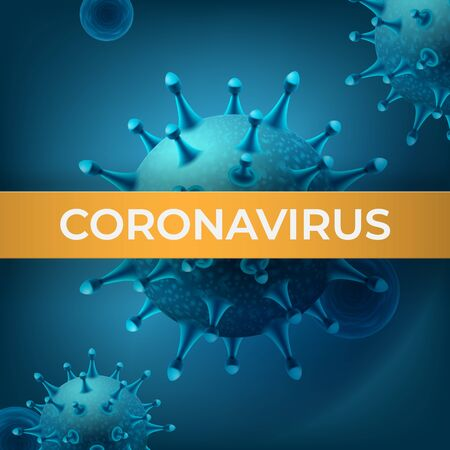 Coronavirus vector realistic illustration in blue colours with title Vettoriali