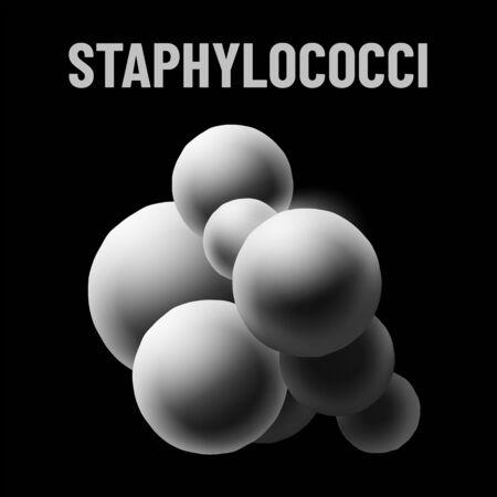 Staphylococci bacteria monochrome vector illustration on black background. Virus concept