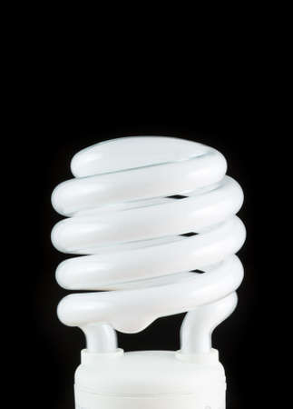 A compact fluorescent lamp on a black background.