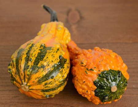 gourds: Two orange and yellow gourds on a wood table