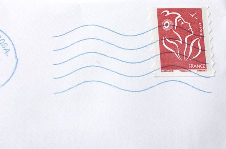 marianne: A white envelope letter with stamp Stock Photo