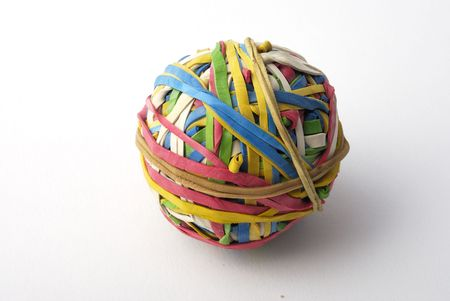 A ball made with elastic bands